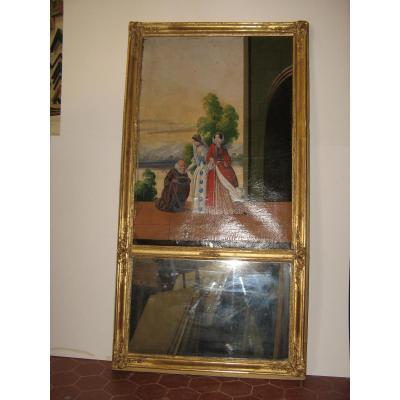 Trumeau Avec Peinture, Jeunes Femmes, époque 19ème.