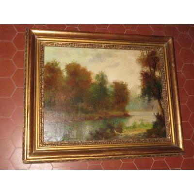 Bord d'Un Etang à l'Automne, Peinture époque 19ème.