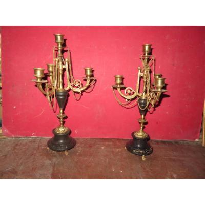 Paire De Chandeliers En Bronze à 4 Lumières, époque 19ème.