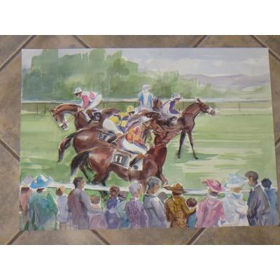 Course hyppique,  aquarelle  et époque 20ème.