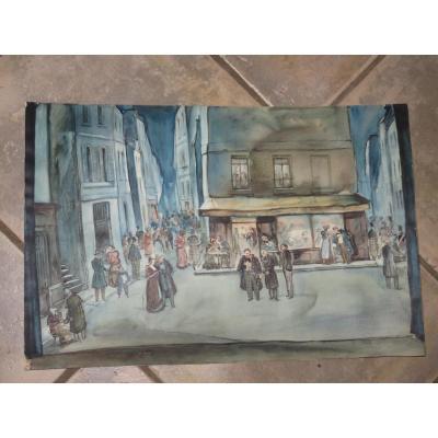 Scène De Rue, Aquarelle Signée Stannard, époque 20ème.