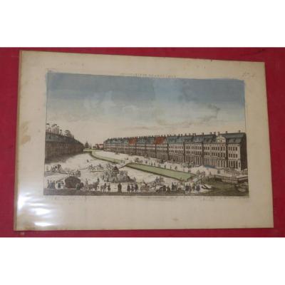 """Vue d'optique époque 18ème représentant """"Collèges Impériaux de Petersbourg"""". -"""