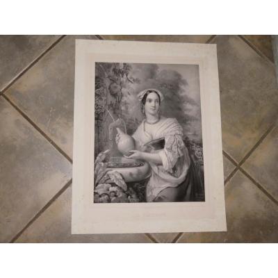 """La """"Fontaine"""", Lithographie époque Fin 19ème."""