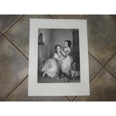 """Les """"soeurs De Lait"""", Lithographie époque Fin 19ème."""