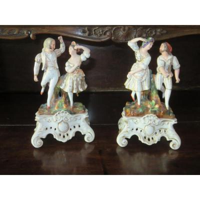 Paire De Porcelaine Allemande, époque 19ème.