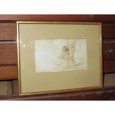 Dessin à La Plume, signé JF Portaels, époque Milieu 19ème.