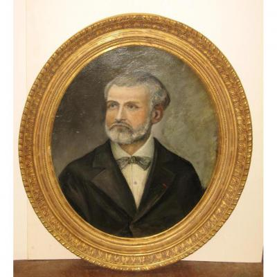 Peinture, Portrait d'Homme Avec Cadre Ovale, époque 19ème.