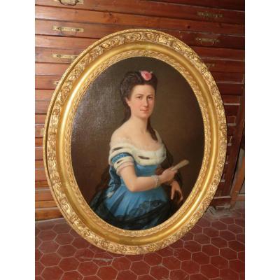 Jeune Femme à l'éventail, Peinture Signée H. Lazerges, 19ème.