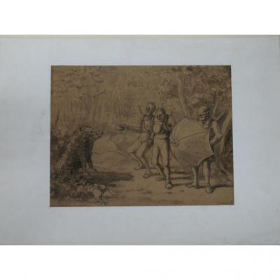 Un Dessin Au Lavis : Carricature De La Chasse, époque 19ème.