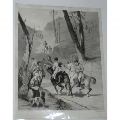 Lithographie, Scène De Chasse à Courre, époque 19ème.