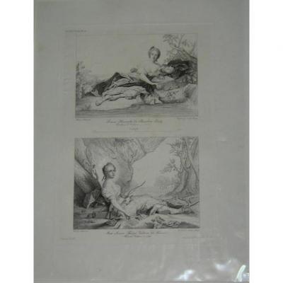 Gravure, Jeunes Femmes, époque 19ème.