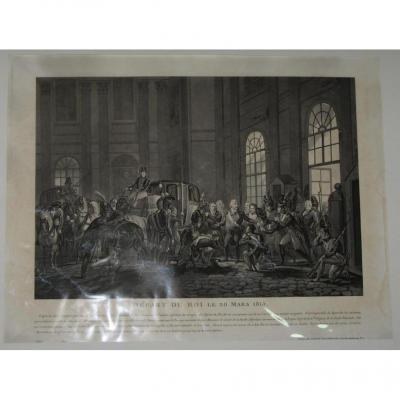 Départ Du Roi Louis XVIII, Gravure époque 19ème.