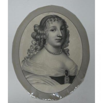 Portrait De Jeune Fille, Gravure époque 18ème.