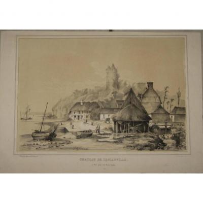 Chateau De Tancarville, Lithographie Sépia Et Blanc, époque 19ème.