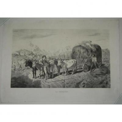 Paysage De Fenaison, Lithographie époque 19ème.