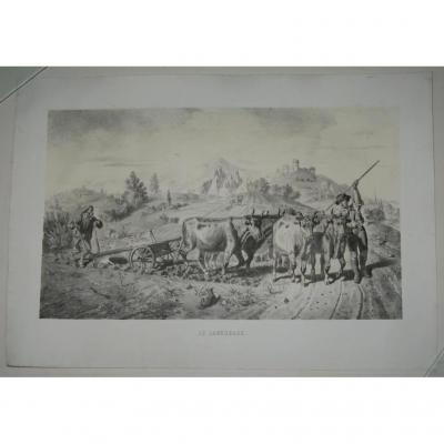 """Paysage, le """"Labourage"""", lithographie époque 19ème."""