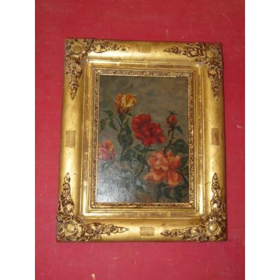 Bouquet De Roses, Peinture époque début 20 ème.