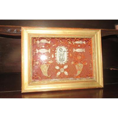 Cadre Reliquaires Avec Paperolles, époque 19 ème.