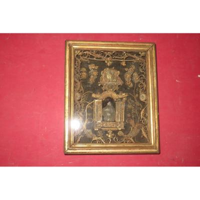 Cadre Reliquaires Avec Paperolles, époque 18 ème.