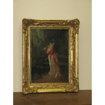 Peinture, Jeune Fille Dans Un Parc, époque 19ème.
