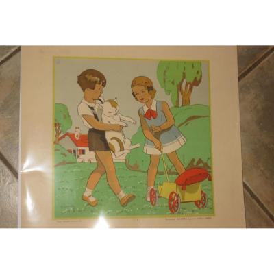 """""""Jeux d'Enfants"""", gravure des années 1930."""
