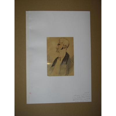 Aquarelle, Portrait d'Homme,attribuer à Henry Monnier, époque 19ème.