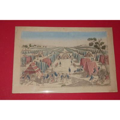 """"""" Vue d'un camp de l'Armée Prussienne"""", vue d'optique époque 18ème."""