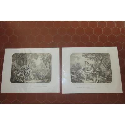 """"""" Les Charmes du Printemps """" et """" Les Délices de l'Automne """"; gravures époque 19ème."""