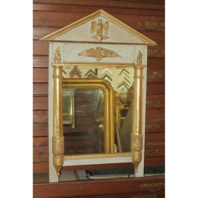 Miroir Avec Colonnes En Bois Peint Et Doré, époque 19ème.