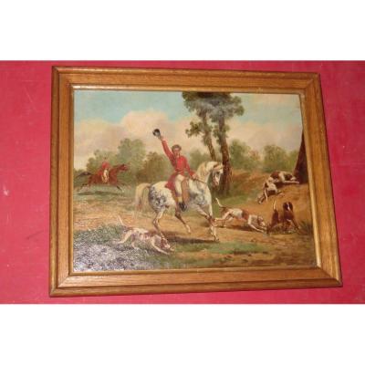 Scène De Chasse à Courre, Tableau époque 19ème.