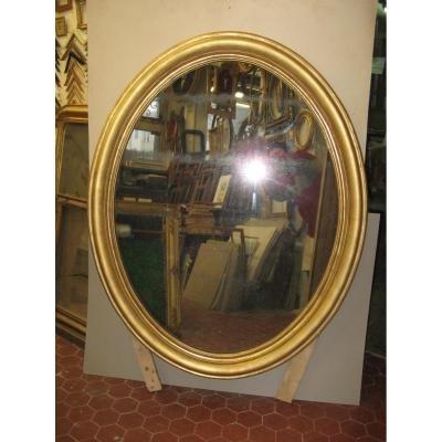 Miroir Ovale, Hauteur 135 Cms, époque 19ème, En Bois Doré.