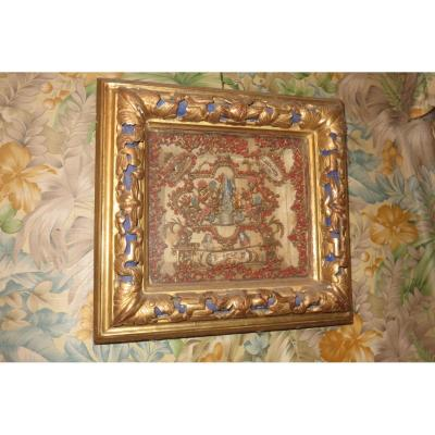 Un Cadre Reliquaires époque 18ème, En Bois Doré.