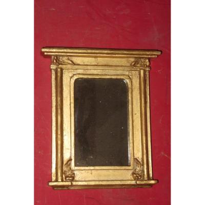 Petit Miroir  En Bois Doré , époque  19ème.