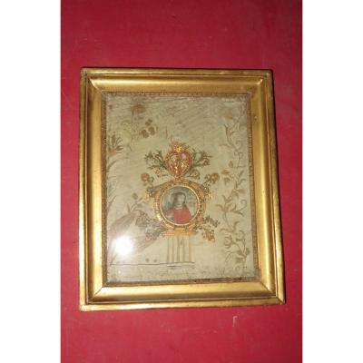 Sainte Marie Madeleine, Aquarelle Entourée De Paperolles, époque 18 ème.