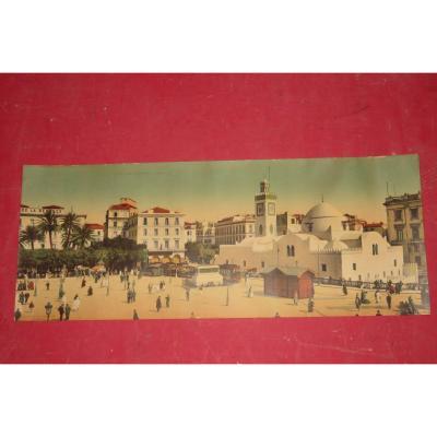 """""""Alger, place du gouvernement """", gravure orientaliste époque début 20 ème."""