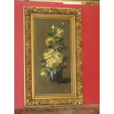 Bouquet De Fleurs, Peinture à l'Huile Sur Bois époque Fin 19ème.