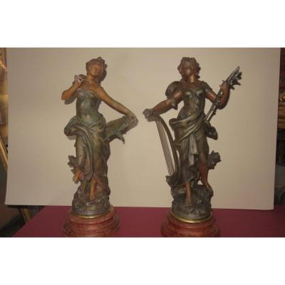 """La """" Mélodie """" et la """" Pensée """",paire de statues en régule, signée  Moreau,  époque fin 19ème."""