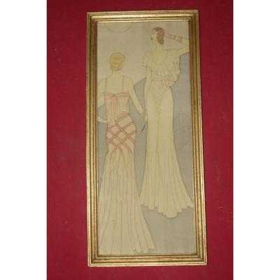 Two Elegant Young Women, Painting On Silk, Early 20th Time, Art Deco.