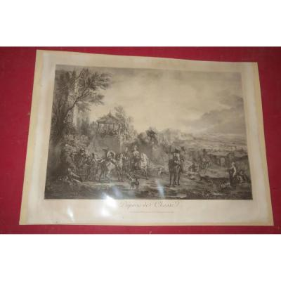 """"""" Départ de Chasse"""", gravure époque début 19ème."""