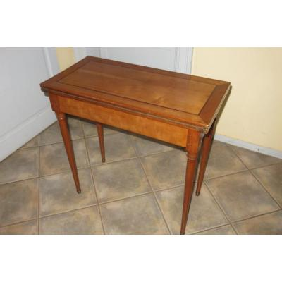 Game Table, In Cherry Wood, Late 19th Time.