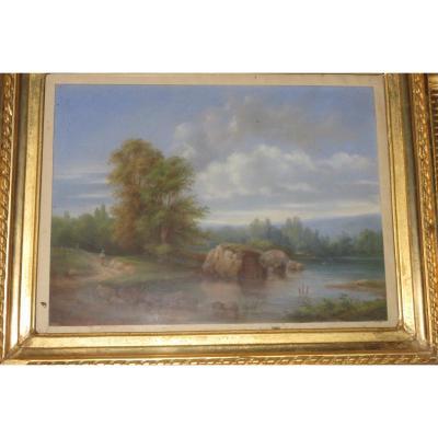 Paysage Avec Sous Bois Et Pièce d'Eau, Pastel époque 19ème.