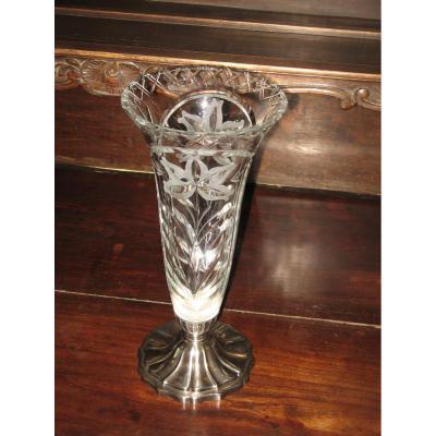 Vase En Cristal, époque Art Déco.
