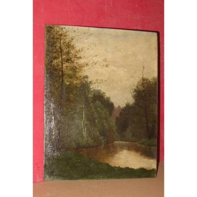 Landscape Of Mortefontaine, 19th Century Painting.