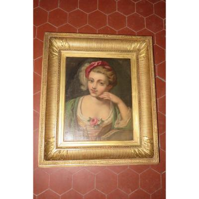 Very beautiful painting representing an elegant young girl with the Rose, from the 1830s. It is a painting painted on paper and mounted on a wooden panel. Frame from the same period, with channels, in wood and gilded with leaves. - Frame external dimensions: 61 x 53 cms. - Table dimensions: 40.5 x 33 cms. - Frame strip width: 11 cms.