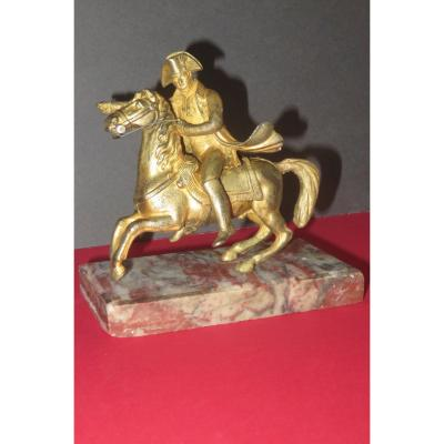 Napoléon 1er à Cheval, Bronze Doré  époque 19ème.