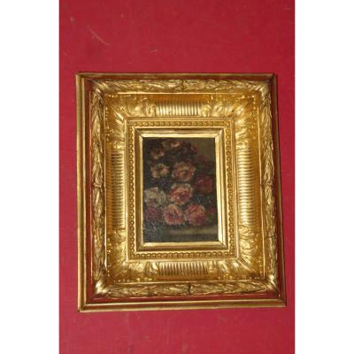 """"""" Bouquet de Fleurs"""", huile sur panneau signée Narcisse Diaz de la Pena ( 1807-1876 )."""