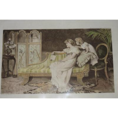 """Very beautiful engraving representing a child """"stealing"""" kisses from her mother. Dated 1902. - External dimensions engraving: 64 x 45 cms."""