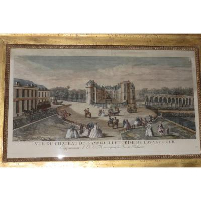 """Very beautiful view of Optics, 18th time, representing the """"View of the Chateau de Rambouillet""""; taken from the forecourt. Apartment to Monseigneur le Duc De Penthhièvre. Wooden frame, gilded with leaf, early 19th time. - External dimensions frame: 58 x 38 cms. - Engraving dimensions: 47.5 x 27.5 cms. - Frame strip width: 5.5 cms."""