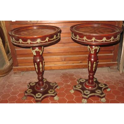 Pair Of Gueridons, Inlaid, From The 1920s.