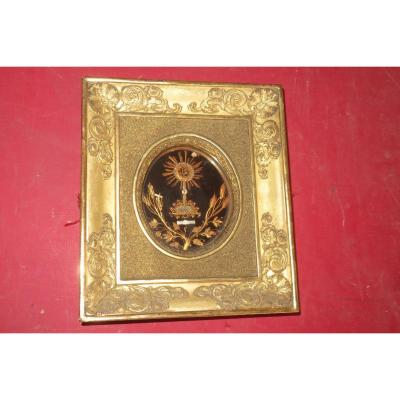 Reliquary Frame Early 19th Time In Golden Wood.